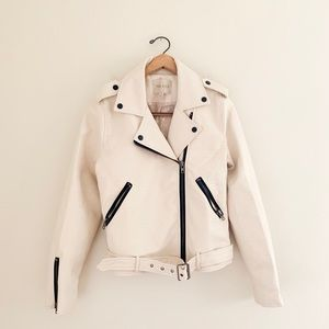 Anthro Moon River Vegan Leather Cream Moto Jacket